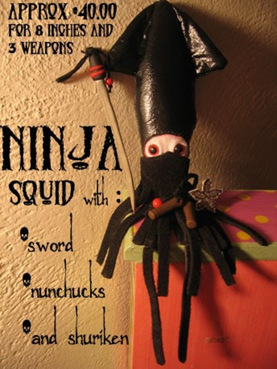 NINJA SQUID with nun chucks shuriken and samurai sword Personalized plush squids