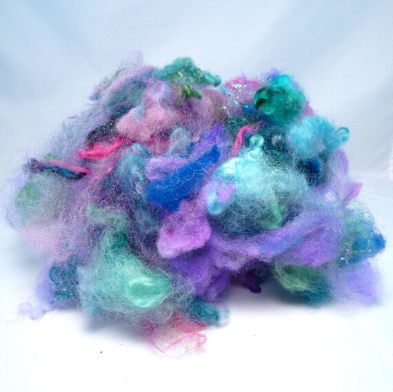 Hand Picked Fiber for Spinning and Felting- Water Dragon Fusion Fluff