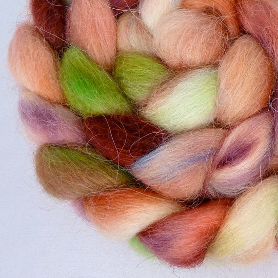 Hand Dyed Masham Wool Top Roving for Spinning and Felting- Santorini
