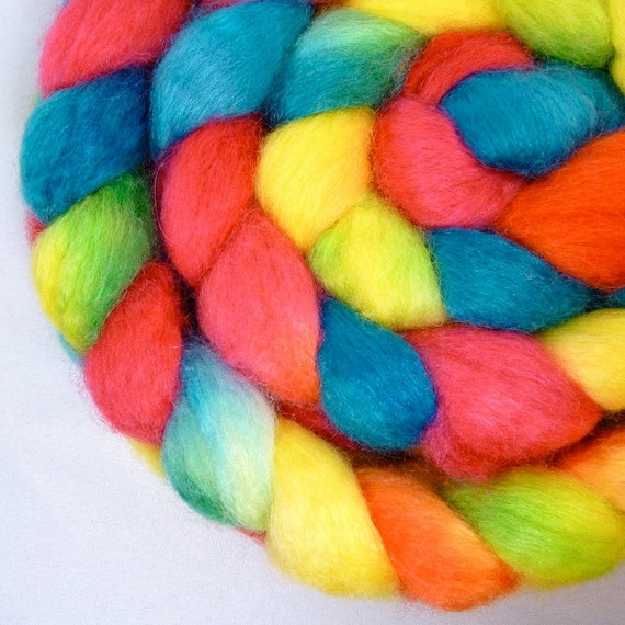 Hand Dyed BFL and Silk Roving for Spinning and Felting- Pool Boy
