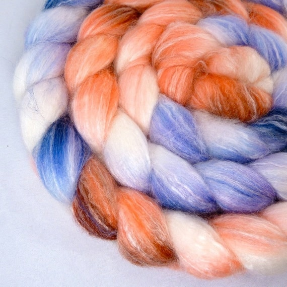 SALE 20 PERCENT OFF- Hand Dyed Superwash Merino Bamboo Nylon Top Roving for Spinning- 4th of July