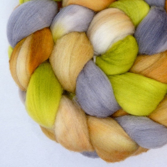 Hand Dyed Merino Wool Top Roving for Spinning and Felting- Dirty Dog Paws