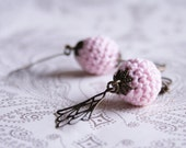 Reserved listing - Crochet bead earrings with antiqued decoration