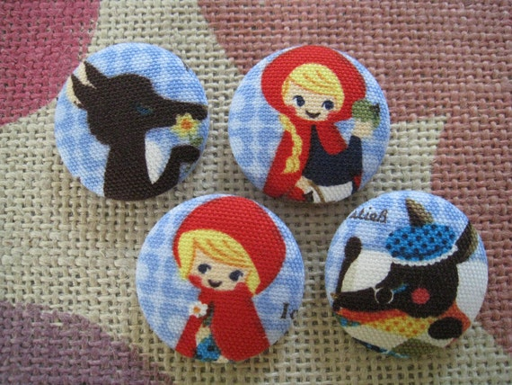 1 1/8 inch sew on fabric cover button -  Red Riding Hood  on Blue - set of  4