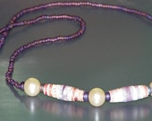 CLEARANCE - was 20.00 -Czech Glass and Paper Bead jewellry set - necklace earrings bracelet   . . .  (autist \/ autistic \/ artist with autism)