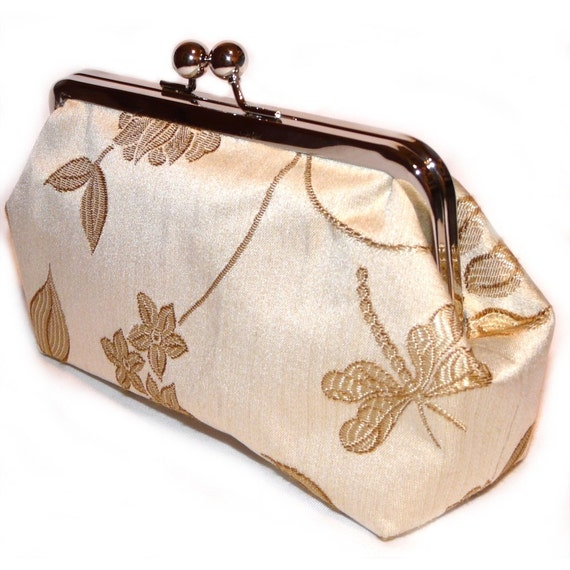 Large Frame Purse in Cream and Gold