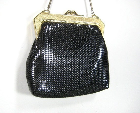 Amazing Vintage Black Mesh Evening Bag, Purse, Gold, Shiny, Whiting Davis, Chain Strap, Metal, Evening. Cocktail, Holiday, Small, Texture