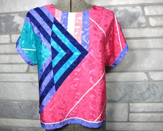 Vintage Blouse, 80s, Abstract Print, Shiny, Textured, Bold, Bright, Geometric Shapes, Hot Pink, Turquoise, Boxy, Cropped, Medium, Large