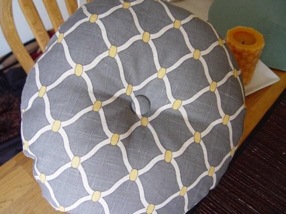 Round Throw/Decorative Pillow-Grey, White, Yellow, Button