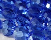 Sapphire Crystal Chubby Coin, Faceted, 10mm, BEAUTIFUL Dark Blue