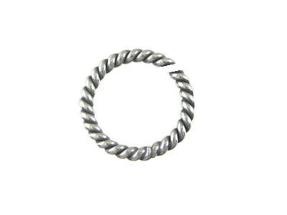 Sterling Silver Twisted Oxidized Jump Rings, Open, 25 pc, 7mm, 20 gauge