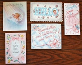 Vintage Baby Girl Cards (1962) Lot 2 - 5 cards
