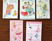 Vintage (1962) Girl Baby Cards Lot 7 - Lot of 5 Cards