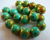 Glass Beads, Turquoise, Green, Gold Splatter, 10mm