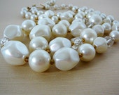 Vintage .. Necklace, 2 Strand Creamy White Swirled Faux Pearl Bead, Wedding, Bridal