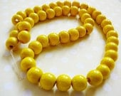 RESERVED .. Vintage .. Wood Beads, 8mm Sunny Yellow