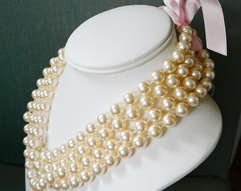 Vintage .. Necklaces, Cream bead Pearl Faux , 2, 35 inch Long 10mm