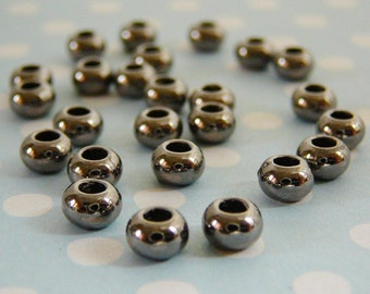 5mm Spacer Bead, Charcoal Gunmetal, 5 x 3mm Hematite Spacer Rondel, qty. 25 jewelry supplies
