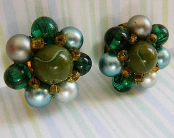 Vintage .. Earrings, Signed Green Glass and Pearl Bead Wired Clip on