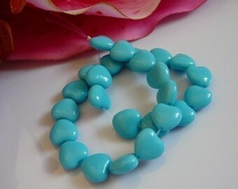 Heart Beads, Czech Glass, Turquoise Blue, jewelry making supplies
