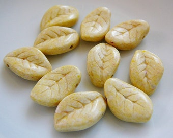 Stone Leaf Beads, Butter Yellow Leaves, Foliage