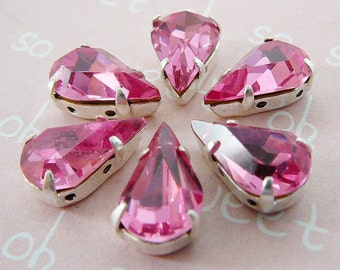 Vintage Pink Bead .. Faceted Pear Shape Czech Rhinestone Framed 2 Hole Spacer