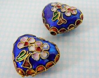 Heart Beads Cobalt Blue Cloisonne Accent Focal