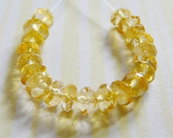 Faceted Citrine Bead, 4.5-5mm Rondel, Spacer .. Mini strand