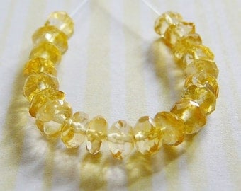 Faceted Citrine Bead, 4mm Rondel, Spacer .. Mini strand