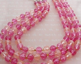 Vintage .. Bead Necklace, 3 Strand Pink Faceted Resin, Signed Hong Kong