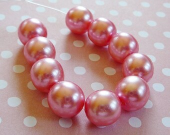 Vintage .. Czech Beads, Dust Rose Pink 12mm Glass Round Bead