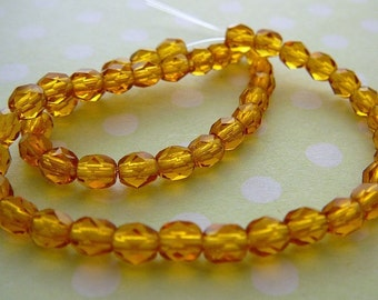 Czech Glass Beads, 4mm Faceted Honey Cognac beading supplies,  jewelry bead strand supplies