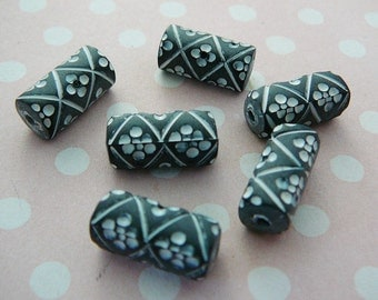 Vintage .. Tube Beads, Charcoal Grey, White Flower, Resin