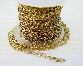 Brass Cable Chain, 4x6mm, 5 ft. jewelry making supplies