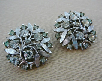 Vintage .. 50s Earrings, Signed, Foliage, Clear Rhinestone, Silver Tone, Clipon