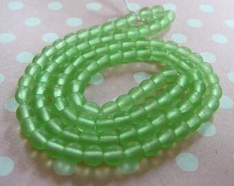 Czech Glass Beads, 4mm Round, Peridot (matte)