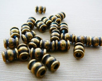 50 Brass Ribbed Beads, Barrel Spacer Bead
