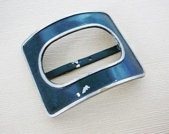 Vintage .. Buckle, Black Enamel Silver Tone Oval Rectangle