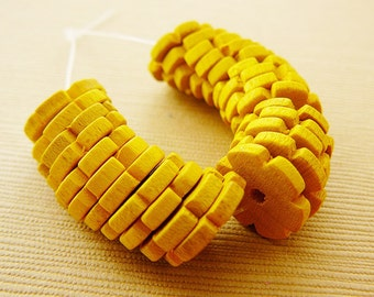 Vintage .. Wood Beads, Flower Spacer, Sunny Yellow