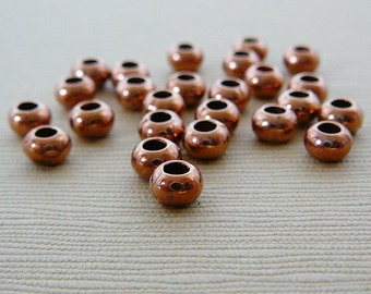Copper Spacer Beads, 5 x 3mm, Rondel, Antiqued, qty 25