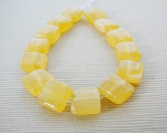 Gemstone Beads, Honey Yellow Jade, Square, mini strand