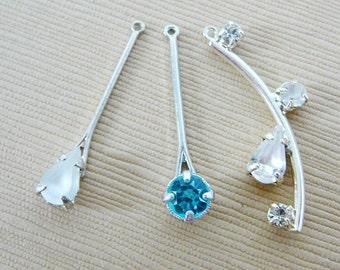 Vintage ..Rhinestone Charm, Pendant, Silver Tone, Clear, Blue, Drop Dangle