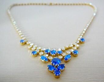 Vintage .. Necklace, Czech Rhinestone, Flower, Clear, Sapphire Blue, Statement, Bridal, Wedding