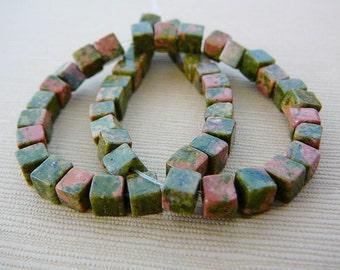 Gemstone Beads, Unikite Cubes, 4mm Green, Pink, half strand