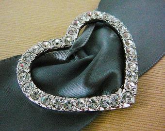 Vintage ..Rhinestone Buckle, Heart, Silver Tone, Clear Ice, Wedding, Bridal