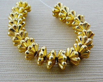 Vintage Beads.. Gold Tone, Fluted Spacer Bead 6mm