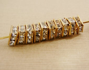 Bead Clear Czech Rhinestone, 6mm Square Rondel Spacer, Brass Frame