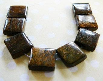 Bronzite Square Beads, gemstone beading supplies, brown jewelry making gems