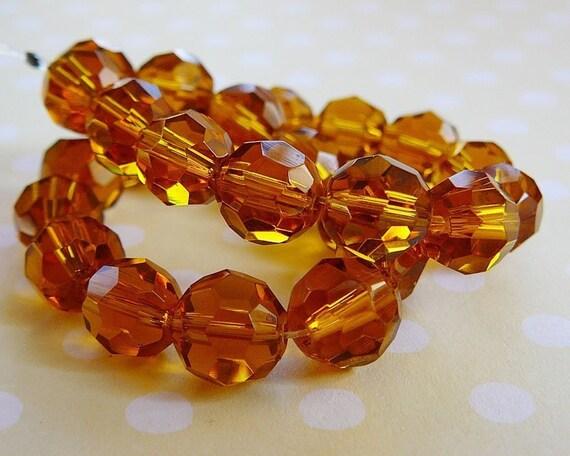 Facet Glass Beads, 8mm Light Topaz, Golden Honey
