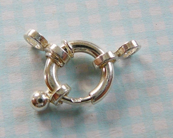 Sterling Silver Clasp, Large 11mm Spring Ring, with Figure 8s